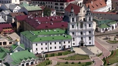Minsk, Belarus, June 2015. Aerial View of  Cathedral of the Descent of the Holy Stock Footage