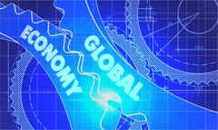 Global Economy on the Cogwheels. Blueprint Style - stock illustration