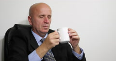 Businessman Refreshing American Coffee Break Serious Man Thinking Job Problems Stock Footage