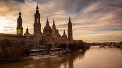 Basilica del Pilar, Cathedral of Our Lady of the Pilar in Zaragoza Timelapse Stock Footage