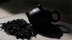 Tracking shot of small stylish dark tea pot. Tea ceremony Stock Footage
