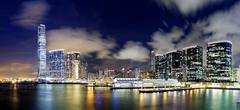 Hong kong office buildings at night Stock Photos