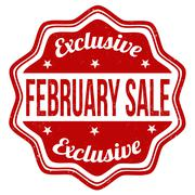 February sale stamp - stock illustration