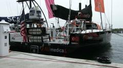 Alvimedica boat docked in Newport Stock Footage