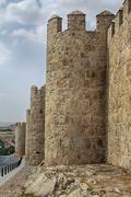 Fortification of Avila in Castile and Leon in Spain - stock photo