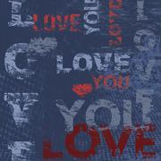 Typographic love poster design - stock illustration