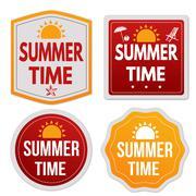 Summer time stickers set - stock illustration