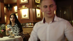 Exchanged glances of young couple Stock Footage