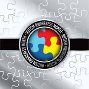 Autism Awareness Month Emblem Illustration Stock Illustration