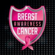 Breast Cancer Awareness Emblem Illustration - stock illustration