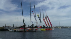 Stock Video Footage of Volvo Ocean Race sailing boats docked in Newport