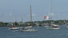 Sailing boats navigate in Newport bay Stock Footage