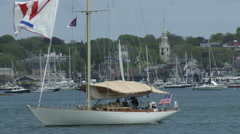 Sailing boat navigates in Newport bay Stock Footage