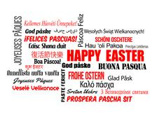 Happy Easter in different language - stock illustration