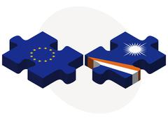 European Union and Marshall Islands Flags in puzzle Stock Illustration