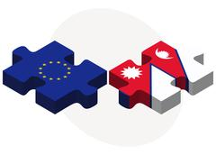 European Union and Nepal Flags in puzzle Stock Illustration