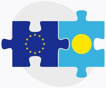 Stock Illustration of European Union and Palau Flags in puzzle