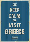Keep calm and visit Greece retro poster - stock illustration