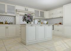 3D illustration of white kitchen in classical style Stock Illustration
