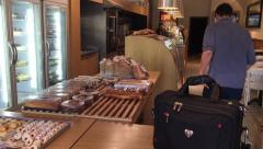 Pastry Display in Coffee Shop Stock Footage