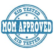 Kid tested, mom approved stamp Stock Illustration