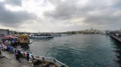 Ship traffic timelapse in Eminonu istanbul Stock Footage