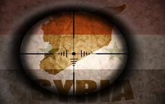 sniper scope aimed at the vintage syrian flag and map - stock illustration
