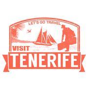 Visit Tenerife stamp - stock illustration