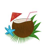 Coconut cocktail on white - stock illustration