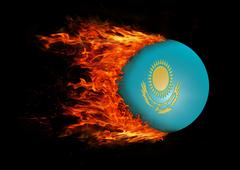 Stock Illustration of Flag with a trail of fire - Kazakhstan