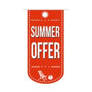 Summer offer banner design Stock Illustration