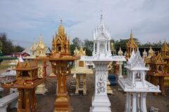Variety shrine of the household god in Thailand Stock Photos