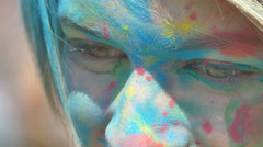 girl face close-up in the paint - stock footage