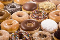 Variety of Different Donuts or Doughnuts - stock photo