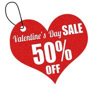 Valentines sale 50 percent off label or price tag Stock Illustration