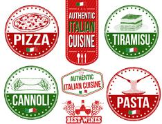 Authentic italian food stamps - stock illustration