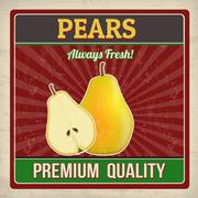 Pears retro poster - stock illustration
