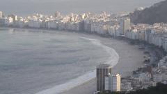 Pan over copacabana beach in rio de janeiro Stock Footage