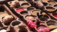 Close view of Tannery pits in Morocco Stock Footage