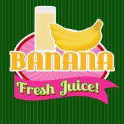 Banana juice sticker or label - stock illustration