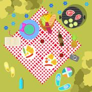 Summer picnic on nature landscape with blanket and basket of food, top view - stock illustration