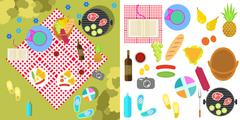 Summer picnic nature landscape with blanket and basket of food, top view - stock illustration