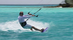 Kite surfing in the Tobago Cays 1 Stock Footage