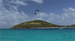 Kite surfing in the Tobago Cays 3 - stock footage