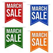 March sale banner design set - stock illustration