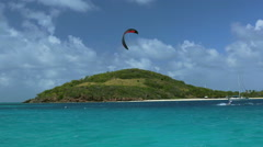 Kite surfing in the Tobago Cays 6 Stock Footage