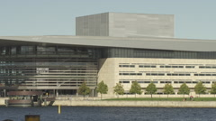 Panning tele shot of Copenhagen Opera house Stock Footage