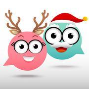 Couple Chat Christmas - stock illustration