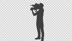 Silhouette of cameraman, Full HD footage with alpha channel Stock Footage