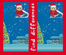 Winter card with cute owl , find the differences - stock illustration